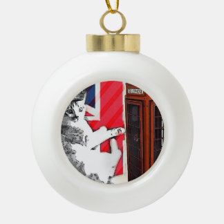 Grunge union jack flag telephone booth kitty cat ceramic ball christmas ornament