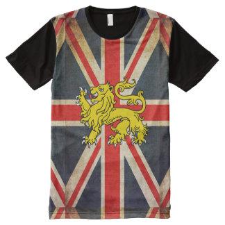 Grunge Union Jack Heraldry Lion Printed T-Shirt All-Over Print T-shirt