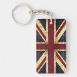 Grunge Union Jack keychain Rectangle Acrylic Keychains