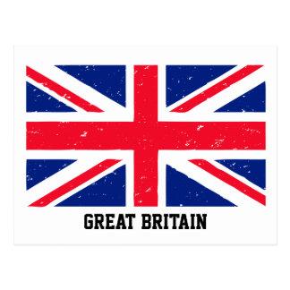 Grunge Union Jack of Great Britain Postcard