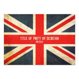 Grunge Union Jack Party Invitation / UK Invitation