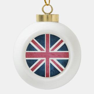 Grunge United kingdom british union jack flag Ceramic Ball Christmas Ornament