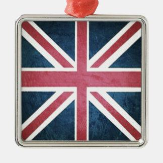 Grunge United kingdom british union jack flag Metal Ornament