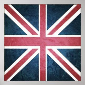 Grunge United kingdom british union jack flag Poster