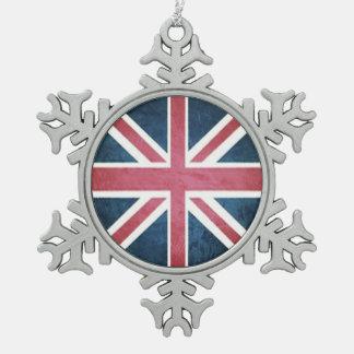 Grunge United kingdom british union jack flag Snowflake Pewter Christmas Ornament