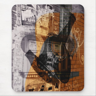 grunge urban acoustic guitar collage mouse pad