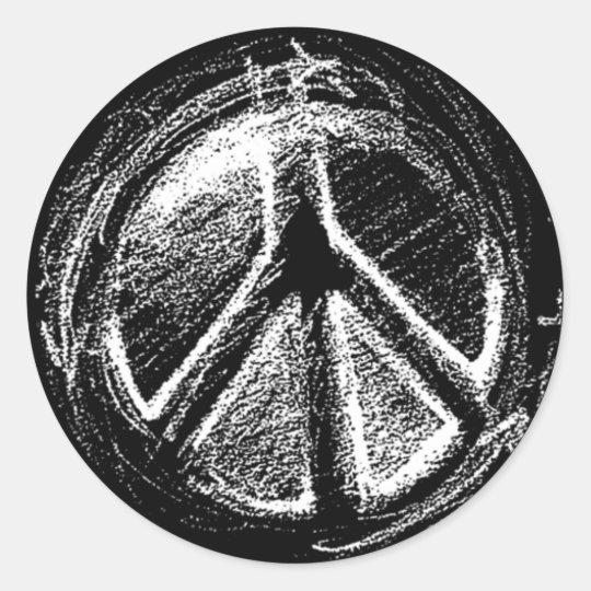 Grunge Urban Peace Sign Sketch Classic Round Sticker