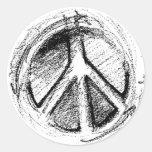 Grunge Urban Peace Sign Sketch in white Round Stickers