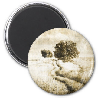 grunge urban western country farm trees 2 inch round magnet