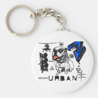 Grunge urbano - diseño del perro de Grunged Bull Llavero Redondo Tipo Pin