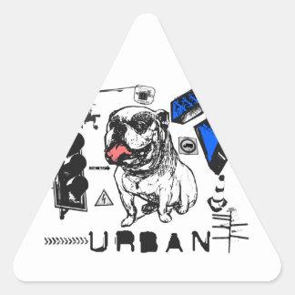 Grunge urbano - diseño del perro de Grunged Bull Calcomanías De Trianguladas
