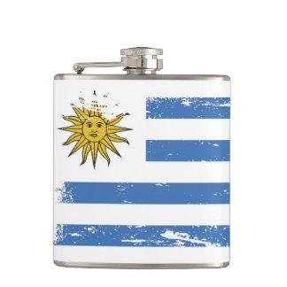 Grunge Uruguay Flag Hip Flask