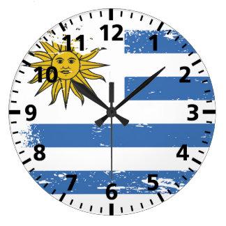 Grunge Uruguay Flag Large Clock