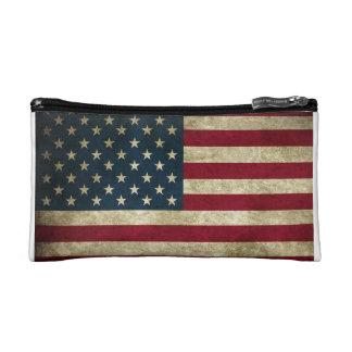 Grunge USA American Flag Patriotic fashion Makeup Bag