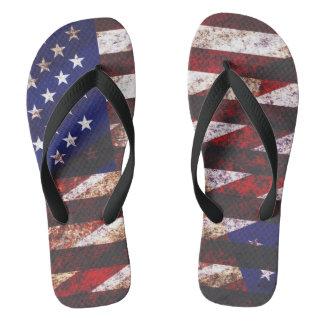 grunge USA flag Flip Flops