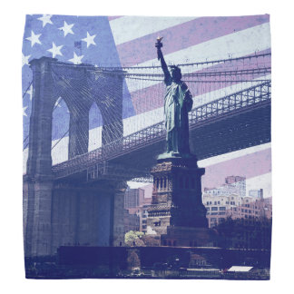 Grunge USA flag -Liberty Statue Bandana