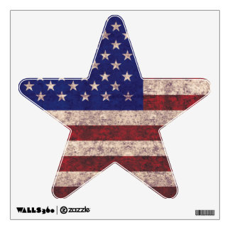 grunge USA flag star shape wall decal