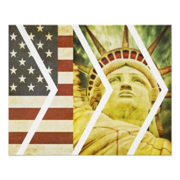 USA Themed Grunge USA Flag Statue of Liberty Chevrons Poster