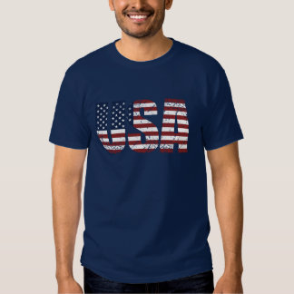 Grunge USA Letters Make The American Flag Shirt