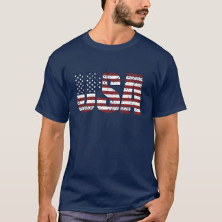 Grunge USA Letters Make The American Flag T-Shirt