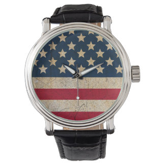 Grunge USA Stars and Stripes Leather Strap Watch
