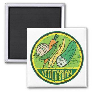 Grunge vegetariano iman de nevera