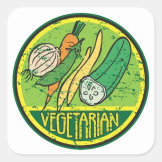 Grunge vegetariano pegatina cuadrada