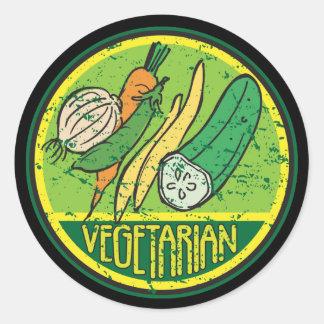 Grunge vegetariano pegatina redonda