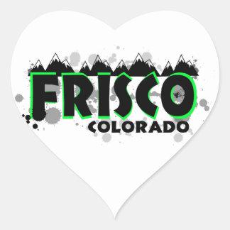 Grunge verde de neón Frisco Colorado Pegatina En Forma De Corazón