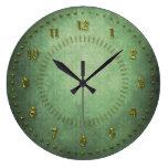 Grunge verde rico numerado reloj de pared