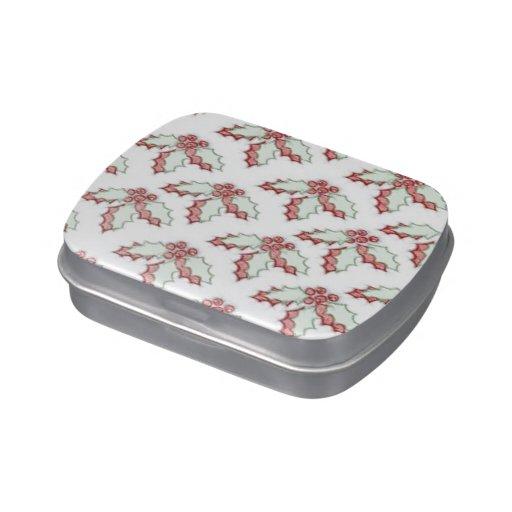 Grunge verde rojo del acebo retro del navidad jarrones de caramelos
