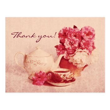 Grunge Victorian Vintage Tea Party Postcard by justbecauseiloveyou at Zazzle