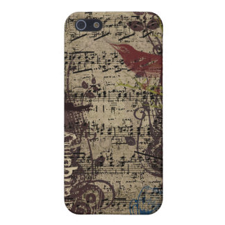 Grunge Vintage Bird Plum Swirls iPhone Cover iPhone 5 Cover