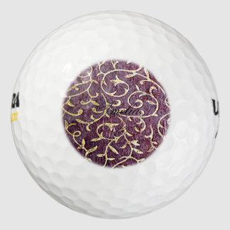 Grunge, vintage, burdeaux, oro, floral, antiguo, pack de pelotas de golf