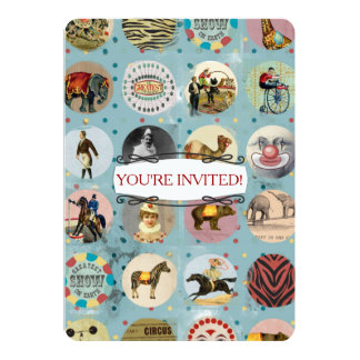 grunge vintage circus performers zoo animals blue personalized invites