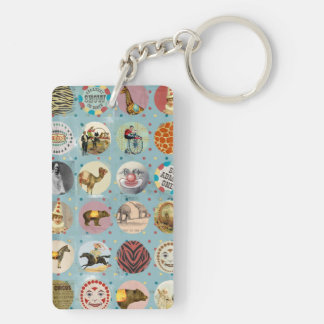 grunge vintage circus performers zoo animals blue rectangle acrylic key chain