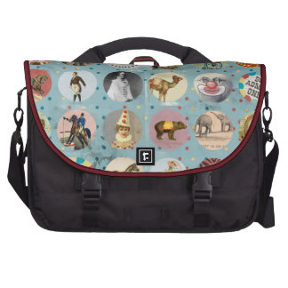 grunge vintage circus performers zoo animals blue bags for laptop