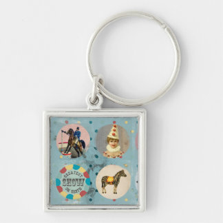 grunge vintage circus performers zoo animals blue Silver-Colored square keychain
