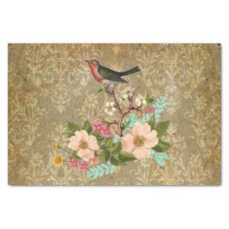 """grunge vintage damask floral bird victorian brown 10"""" x 15"""" tissue paper"""