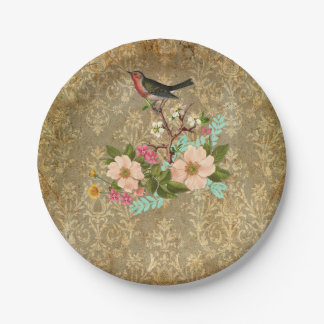 grunge vintage damask floral bird victorian brown 7 inch paper plate