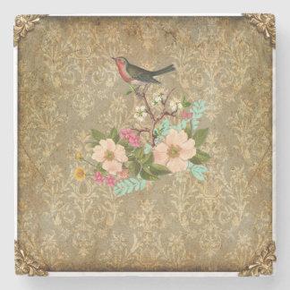 grunge vintage damask floral bird victorian brown stone coaster