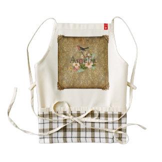 grunge vintage damask floral bird victorian brown zazzle HEART apron