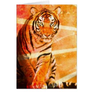 grunge vintage Japanese Tiger sunrays Greeting Card