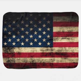 Grunge Vintage Looking Patriotic American Flag Stroller Blanket