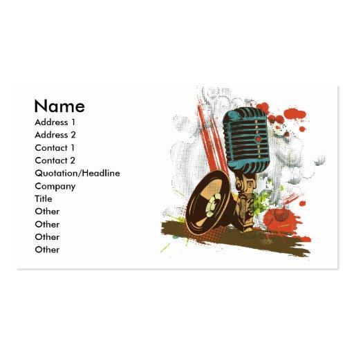 grunge vintage microphone vector business card