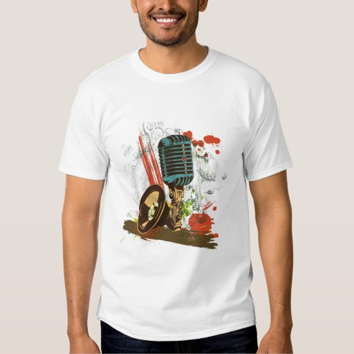 grunge vintage microphone vector tee shirt
