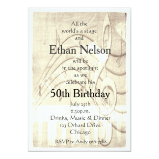 Grunge Vintage Piano Guitar Music Party Invites