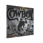 grunge vintage rustic western country cowboy rodeo canvas print