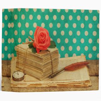 Grunge vintage shabby chic polka dot teal roses 3 ring binders