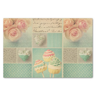 """grunge vintage shabby chic teal pink collage roses 10"""" x 15"""" tissue paper"""